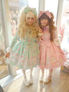 a mint lolita and a pink lolita