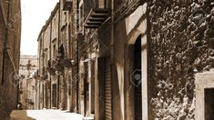 View to Historic Center City of Piazza Armerina in Sicily, Vintage Style Sepia Stock Photo - 56419062