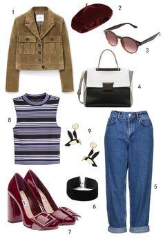 THỨ NĂM: 1 áo khoác Mango, 2 nón Accessorize, 3 mắt kính Accessorize, 4 túi Furla, 5 quần jeans Topshop, 6 vòng cổ choker Topshop, 7 giày Miu Miu, 8 áo H&M, 9 hoa tai Topshop