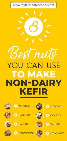 Learn how to make kefir with non-dairy milk. It is easy, tasty and full on gut friendly bacteria. . . . #bestnuts #nuts #almond #hazelnuts #peanuts #macadamias #pistachio #cashews #walnuts #pecannuts #nondairykefir #kefir #waterkefir #fermenteddrinks #kefirsoda #bestkefir #yogurt #juice #fermentedwater #juicerecipes Kefir How To Make, Soaked Almonds, Probiotic Drinks, Kefir Recipes, Water Kefir, Nut Milk Bag, Sour Taste, Pecan Nuts, Food Facts