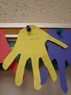 Main idea: students write the supporting details on the fingers and the main idea in the palm.