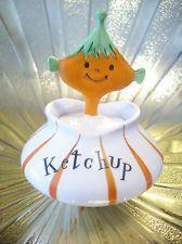 Vintage Holt Howard Pixie Elf Ketchup w/ Spoon Pixieware Jar Figurine NICE!
