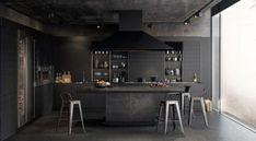 Find Out Luxurious And Modern Dark Kitchen Interior Design Ideas Kitchen Shelf Design, Luxury Kitchen Design, Kitchen Interior, New Kitchen, Kitchen Decor, Kitchen Shelves, Kitchen Ideas, Ikea Shelves, Kitchen Small