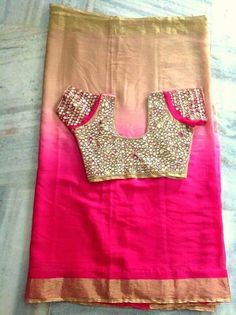 Shaded colour saree  with  arry work blouse