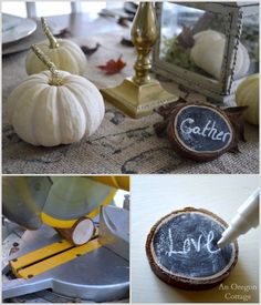 Thanksgiving Tablescape Rustic Wood Slice Word Decor or Napkin Decoration tutorial here: http://anoregoncottage.com/rustic-gold-thanksgiving-table/
