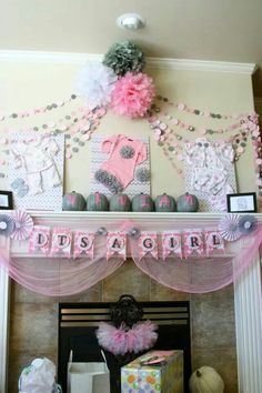 It's a girl, pink and grey baby shower