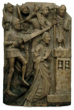 14th century carving of Thomas Beckett's murder in Canterbury Cathedral 1170. BM