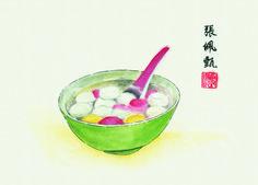 #ChineseArt #WedangRonde #Indonesia #Painting Chinese Painting, Chinese Art, Watermelon, Fruit