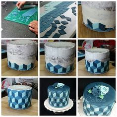 How to put together tiles on an illusion cake by AliAnda Cakes.