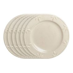 Sorrento dinner plates - we have these and love them... they look white in this photo, but they're actually a creamy ivory w/ antique edging