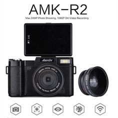 77.27$  Watch more here - http://ai8k2.worlditems.win/all/product.php?id=32791748146 - Amkov AMK-R2 24MP HD 1080P 180 Rotatable Screen Portable Digital Cameras +Lens