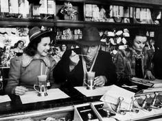 Deanna Durbin having Ice Cream Soda at Counter with Eddie Cantor ...