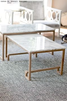 Marble Nesting Tables For The Living Room (sarah M. Dorsey Designs)