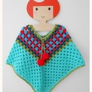 Lovely retro style poncho.. Adjustable neck making it suitable for a baby, or toddler and up to approx three years or older. Just gather the pom pom stringing in to tighten slightly, creating a personal fit. (As long as it fits over the child's head it...