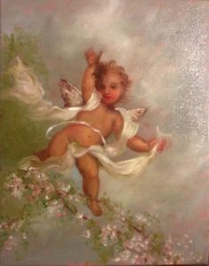 Antique vintage style cherub angel rose pink cherry blossoms