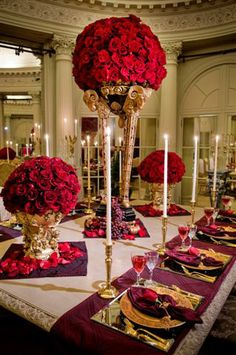 Broadway Floral Designs of Newport | @Grace_Ormonde @Wedding_Style | So Elegant, the red is striking!