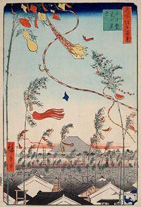 名所江戸百景 市中繁栄七夕祭 歌川広重(初代)画 安政年間(1854~1860)刊