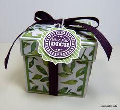 Geschenke für Frauen - Explosionsbox Geburtstag Geldgeschenk Brombeere - ein Designerstück von Stempelitis bei DaWanda