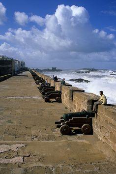 Essaouira, Morocco - Ramparts Protect the Town from the Sea. Portuguese Cannon Recall a Period of Portuguese Control.