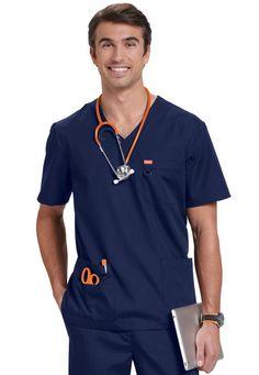 Orange Standard unisex scrub top. Main Image