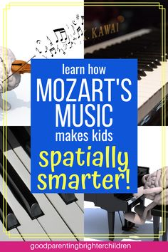 """For years people thought if they listened to Mozart it would bring them """"instant smarts. However, there is magic to Mozart and you DO want to listen to Mozart—but why and how does it make kids smarter? Here are 6 reasons. Music Activities For Kids, Brain Activities, Music For Kids, Infant Activities, Science Education, Music Education, Gifted Education, Music Class, Physical Education"""