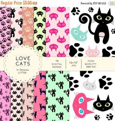 """80% Until New Year - Cats digital papers pink fuchsia mint black cat  7 clip art .JPG&.PNG - digital paper pack scrapbook paper scrapbook by DesignLitter  1.00 USD  Cats - """"Love Cats!"""" digital papers This listing includes a collection of digital papers and clip art that can be used to make your nice creations. You can use for websites scrapbooking greeting cards stickers tags banners photo overlays magnets to decorate and to personalize every project! Our digital papers are perfect for any…"""