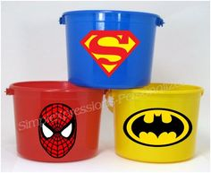 Super Hero party personalized birthday party favor pail. $6.00, via Etsy.