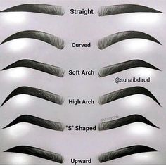 @elysian360 Which one is your favourite Brow shape ? Comment below! @suhaibdaud Types Of Eyebrows, How To Draw Eyebrows, How To Thread Eyebrows, Thicker Eyebrows, Thick Brows, Eyebrows Sketch, Drawing Eyebrows, Eye Brow Drawing, Makeup Drawing