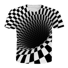 e121d0d3cae Alisister Black And White Vertigo Hypnotic Printing T Shirt Unisxe Funny  Short Sleeved Tees Men women Tops Men s T-shirt