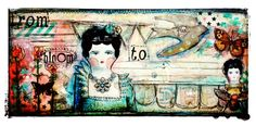 Mail Art..created for Retro Cafe ART Gallery using: Victorian Dollie Collage Sheet Washi tapes stars & stripes