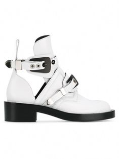 Balenciaga Women's White Leather Ankle Boots for sale White Leather Ankle Boots, Black Combat Boots, Mid Calf Boots, Calf Leather, Balenciaga Boots, Balenciaga Womens, Boots For Sale, Short Boots, Ankle Strap