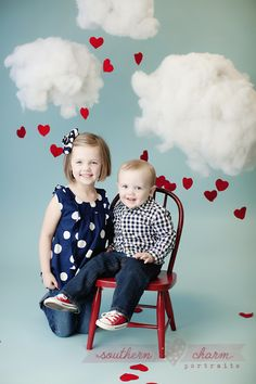 Puffy White Clouds & Raining Hearts Whimsicle Backdrop & Props for Kids Photo. DIY portrait ideas.