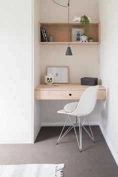 Like this wood for the kitchen area desk and that cute hanging lamp. More storage underneath - drawers.