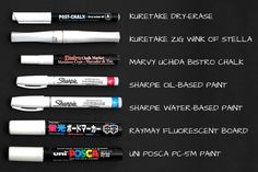 Guide To Choosing White Gel Ink Pens And Markers - JetPens.com - SO MUCH MORE GOOD INFO ON THE WEBSITE!!!