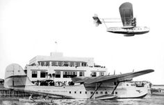 Pan Am Seaplanes at Dinner Key Seaplane Base in 1930, now Miami City Hall.