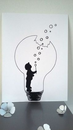 "Poster Illustration Black and white bulb ""the force of childhood"": Posters, illustration . - Poster Illustration Black and white bulb ""the force of childhood"": Posters, illustrations, posters - Cool Art Drawings, Pencil Art Drawings, Art Drawings Sketches, Easy Drawings, Art Sketches, Drawing Ideas, Mini Drawings, Tattoo Drawings, Doodle Art"