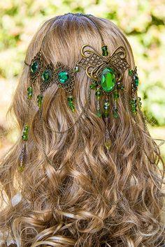 Emerald Dreams Circlet, stunning bronze & Emerald green hand made filigree bridal circlet. $199.00, via Etsy.