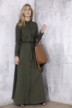 Khaki maxi shirt dress from lace-me-up collection - malubi.co Fashion for elegant woman who loves premium label.