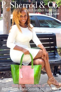 #pink #green #leather #handbags #clutches #aka #alphakappaalpha #boule Aka Sorority, Alpha Kappa Alpha Sorority, Sorority Life, Green Bag, Pink And Green, Derby Party, Dressed To The Nines, Everything Pink, Greek Life