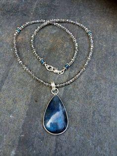 Labradorite necklace Sterling Silver by SheRocksGemjewellery