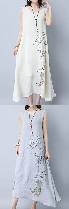 US$23.88 Gracila Bamboo Printed Sleeveless O-neck Loose Hem Women Dresses