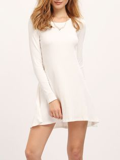 Shop White Ribbed A Line Dress online. SheIn offers White Ribbed A Line Dress & more to fit your fashionable needs.