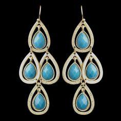 Gold Turquoise Crystal Fashion Dangle Earrings 8839