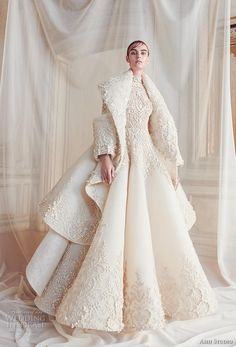 Ashi Studio fall winter 2019 For a true snow queen! 😯❄☃️❄ Bridal long sleeves high neck full embellishment glamorous a line wedding dress with jacket sweep train mv -- Ashi Studio Fall/Winter Couture Collection Designer Wedding Dresses, Bridal Dresses, Wedding Dress 2018, Queen Wedding Dress, Princess Wedding, Dress Dior, Mode Editorials, Couture Collection, Bridal Collection