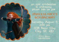 DIY Printable Brave Merida Birthday  Invitation. $14.00, via Etsy.