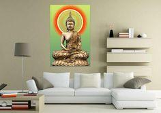 Modern Golden Buddha Print Canvas Wall Art - 3 Sizes