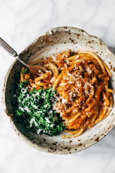 Creamy Pumpkin Spaghetti with Garlic Kale