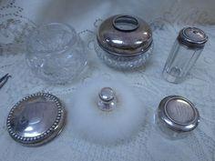 Gorham Sterling Silver Dresser Vanity Set 1899 with Powder Puff 9 Piece Set #Gorham