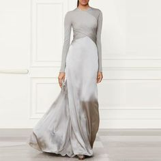 Pure Color Stitching Long Sleeve Evening Dress – Icefancy