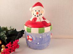 Snowman Candy Dish Trinket Box Covered Sugar Bowl  Jam Jar Vintage Royal Norfolk…